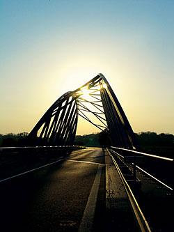Most na soutoku Moravy a Bečvy.