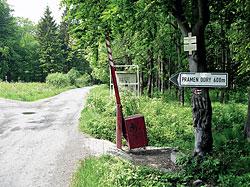 Pramen Odry, v zajetí vojenského újezdu Libavá, není přístupný po toku řeky