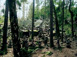 Stráň s kamennými mužíky u Viklanu